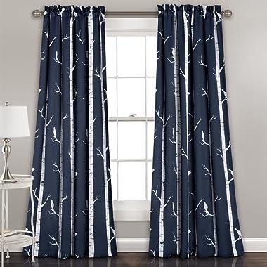 Lush Decor Bird On The Tree Curtains Room Darkening Window Panel Set for Living, Dining, Bedroom (Pair), 84  x 52 , Navy