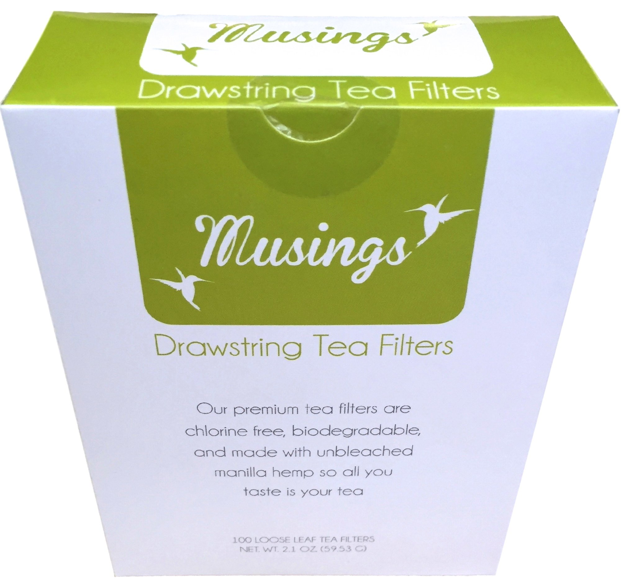 Premium Drawstring Tea Bags For Loose Leaf, Disposable Filters, Non GMO, Strong, No Mess Tag, All Natural Infuser, Compostable, Unbleached Manilla Hemp Paper