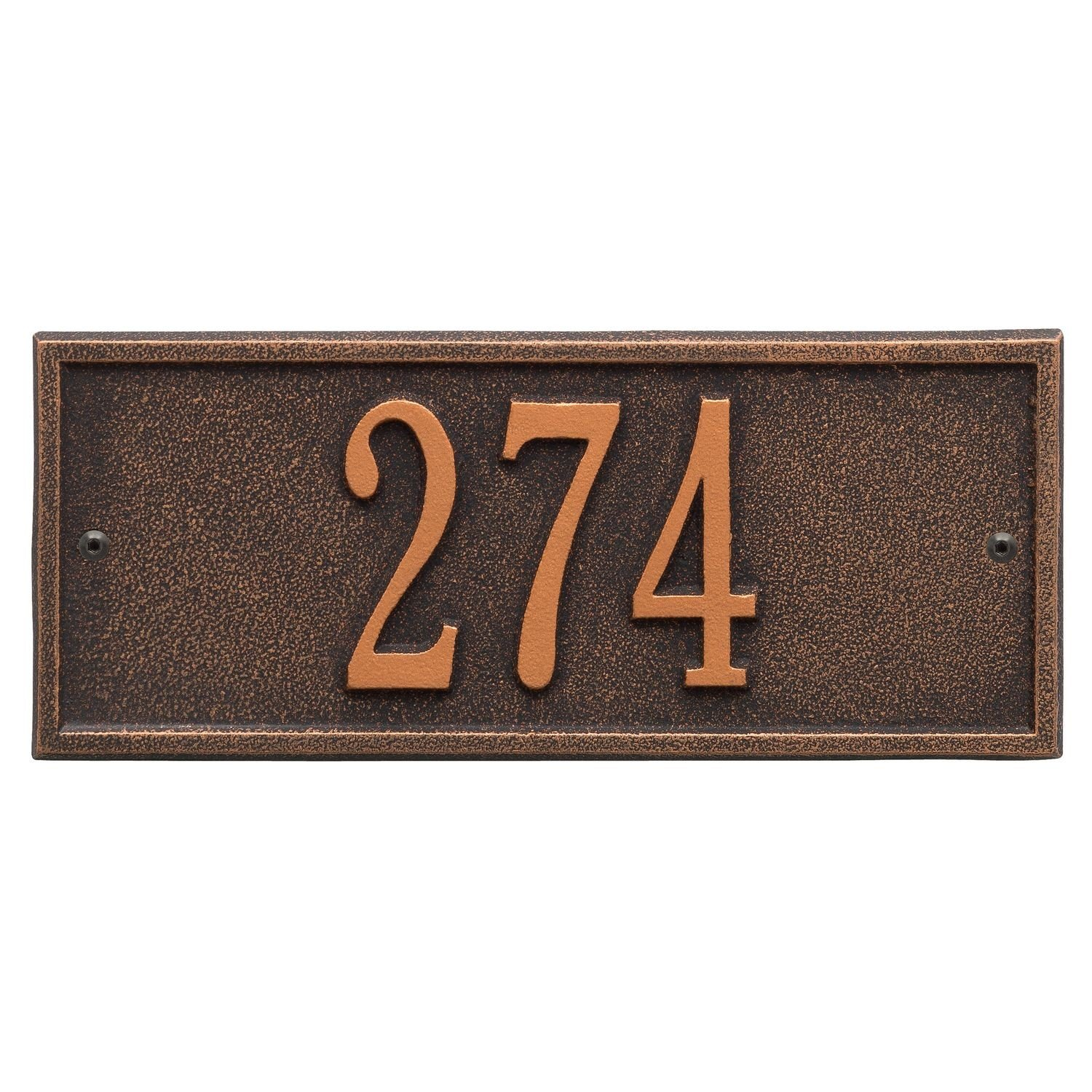 Whitehall Personalized Cast Metal Address Plaque - Small Hartford Custom House Number Sign - 10.5'' x 4.25'' - Allows Special Characters - Oil Bronze
