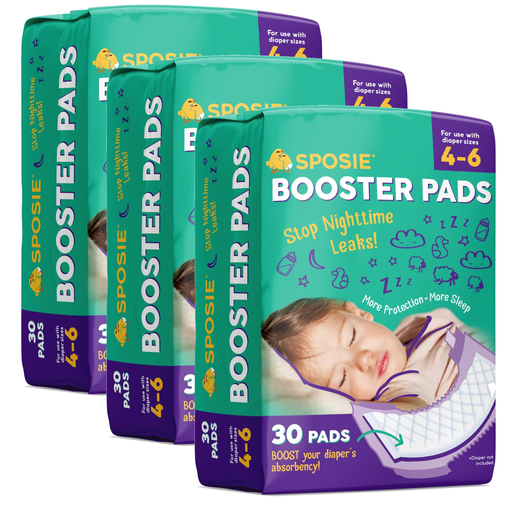 Sposie Booster Pads Diaper Doubler, 90 Count, 3 Packs of 30 Pads, No Adhesive for Easy repositioning, Fits Diaper Sizes 4-6