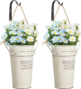 MONT PLEASANT Metal Wall Planter Hanging Country Home Wall Vase with Hooks Farmhouse Rustic Wall Decor Pot for Plants Flower Home Decoration Set of 2 (White)