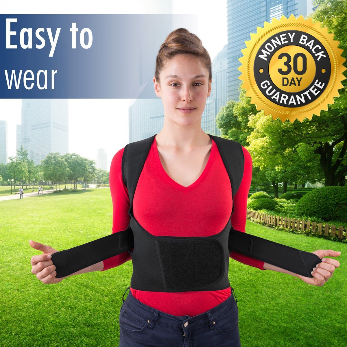 THE ULTIMATE Posture Corrector for Women & Men Under Clothes   Effective & Comfortable   Back Brace for Slouching & Hunching -Shoulders Clavicle Support   Upper & Lower Back Supports   Body Therapy by TK Care Pro. (Image #4)
