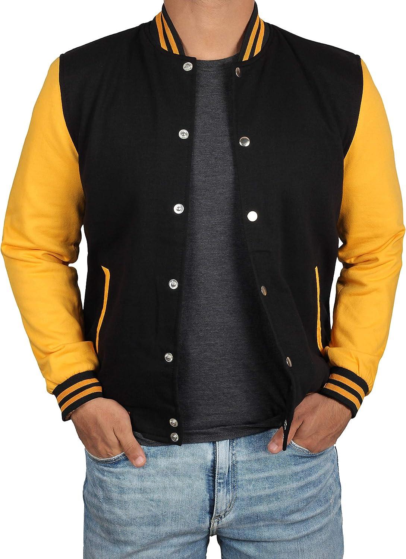Decrum Black and Yellow Letterman Jacket Men - High School Baseball Varsity Jacket Mens at  Men's Clothing store
