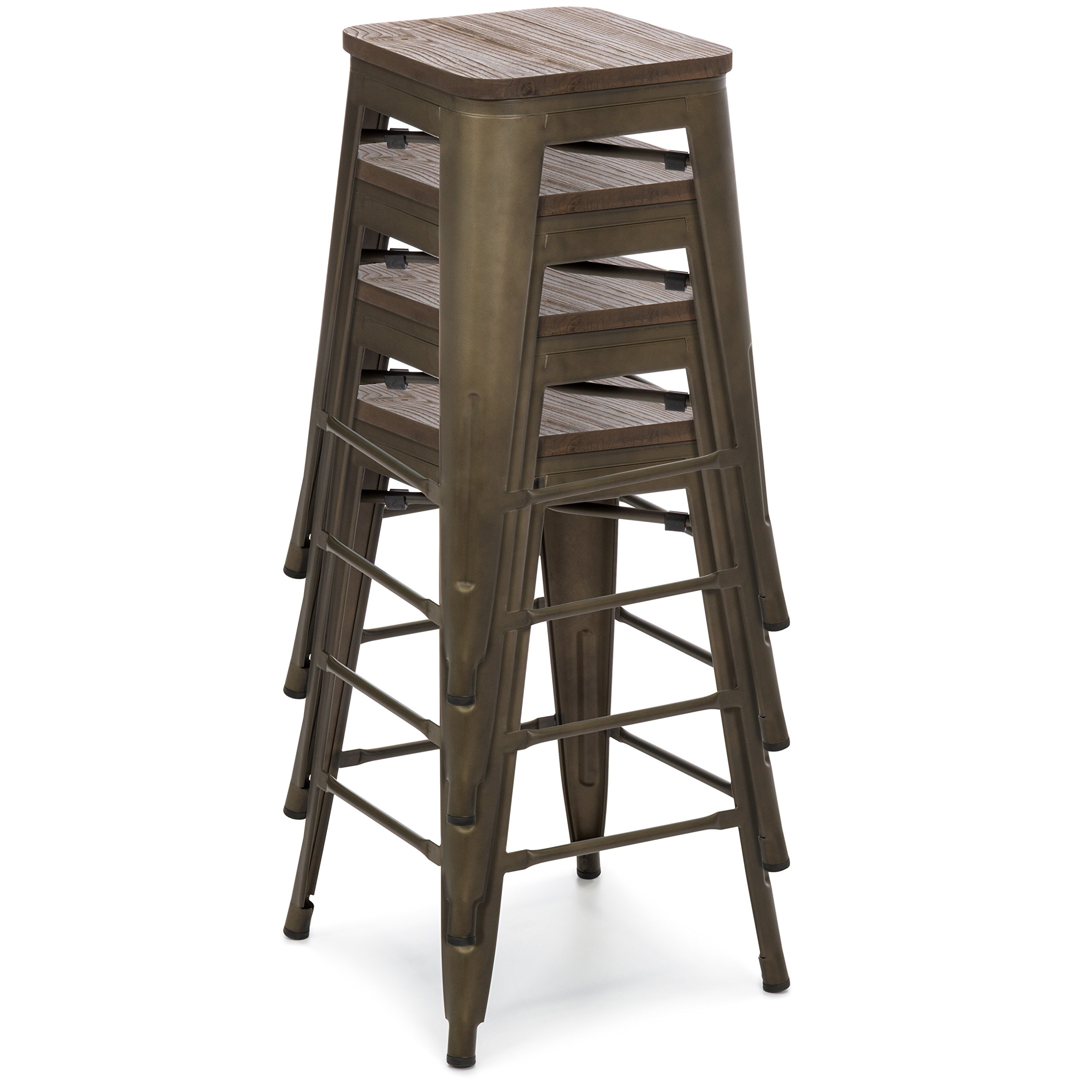 Best Choice Products 24in Set of 4 Stackable Industrial Distressed Metal Counter Height Bar Stools w/Wood Seat - Copper by Best Choice Products (Image #2)