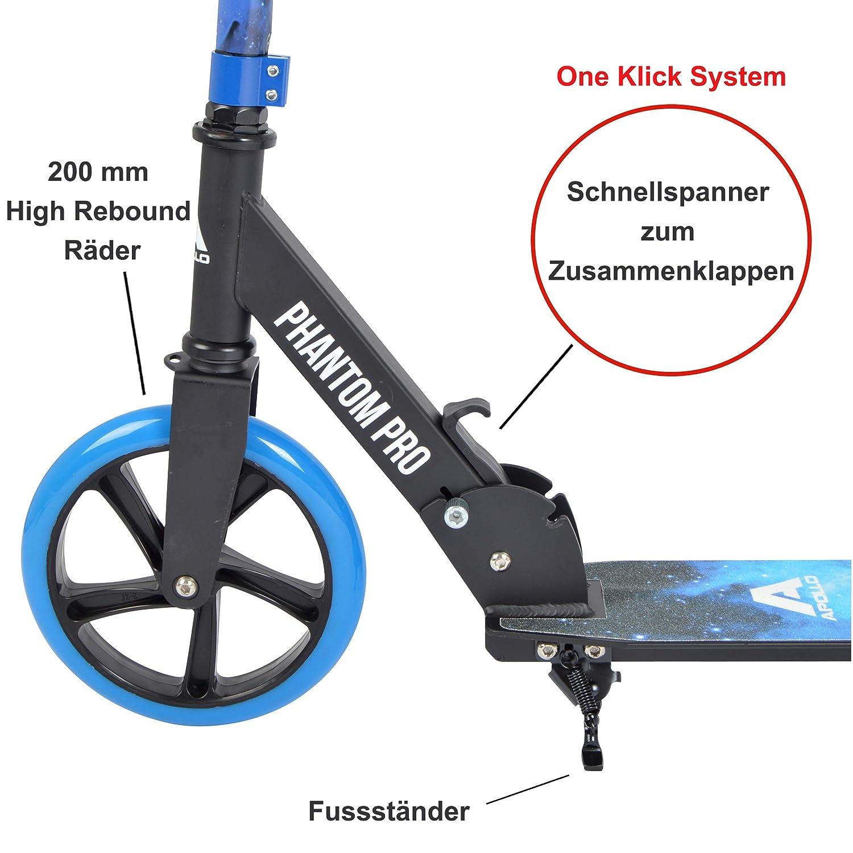 Apollo XXL Wheel Kick Scooter 200 mm - Phantom Pro es un City Scooter, City Roller Plegable y Ajustable en Altura, para Adultos y niños