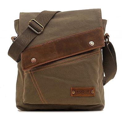 MiCoolker Canvas Small Vintage Multipurpose Shoulder Bag Mens Messenger Handbag Purse Ipad Casual Carrying Tote Case Crossbody Travel Bag