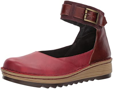 NAOT Women s Sycamore Mary Jane Flat Berry Luggage Brown Leather Violet  Nubuck