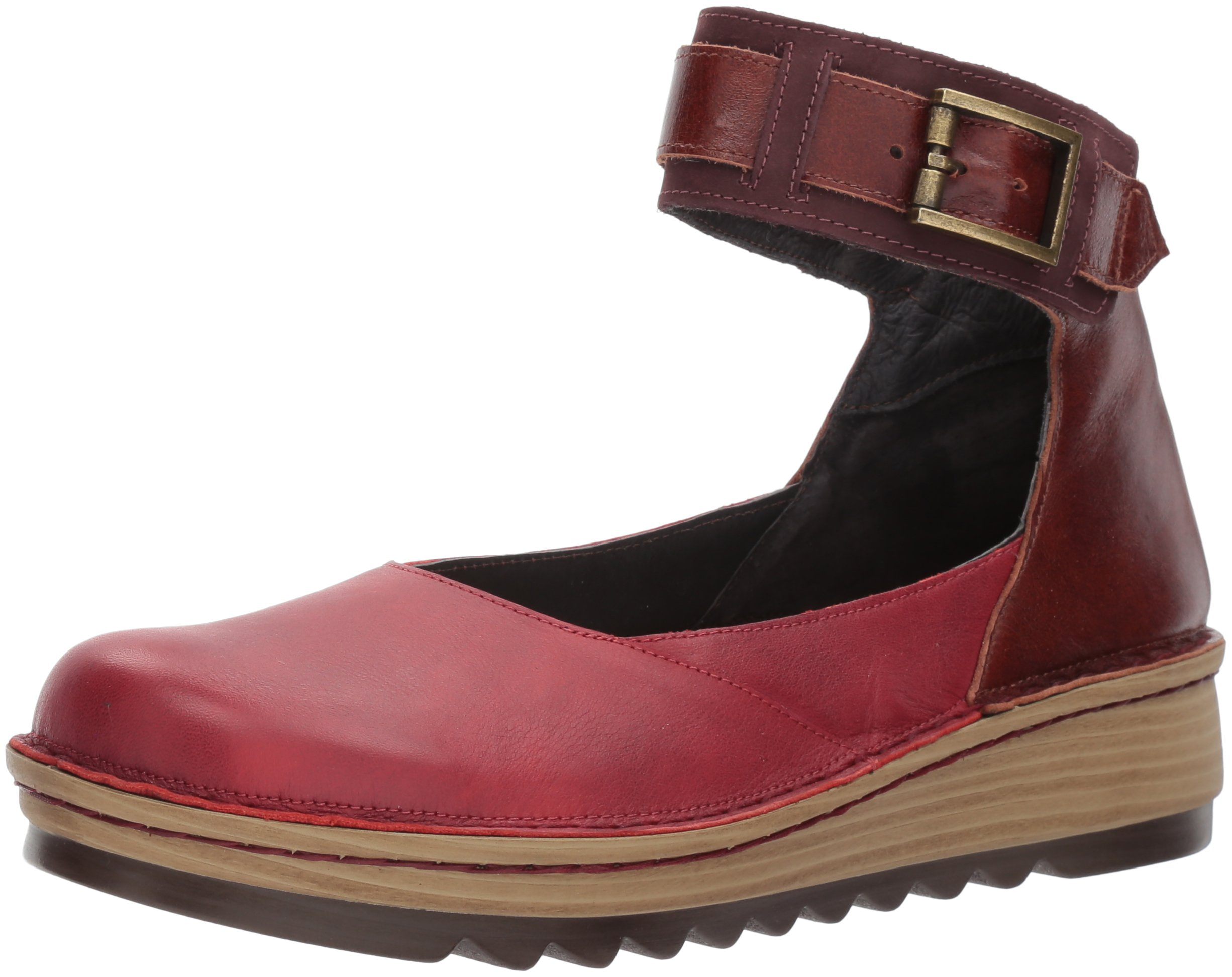 Naot Women's Sycamore Mary Jane Flat, Berry Leather/Luggage Brown Leather/Violet Nubuck, 39 Medium EU (8 US)