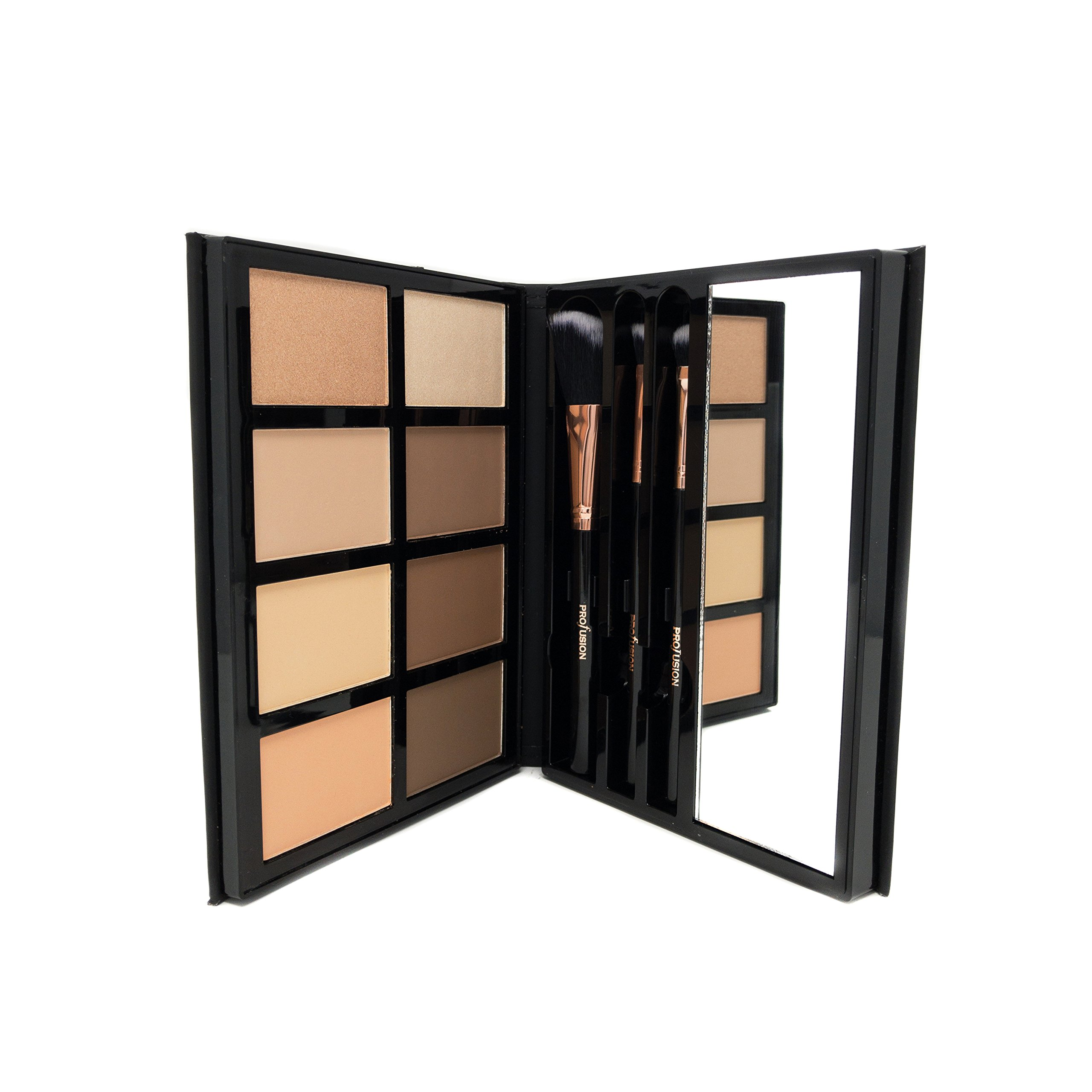 Profusion Cosmetics - Contour - Professional 8 Color Palette - Face Powder Highlighter Bronzer Makeup Kit Brushes Included - Champagne Highlight Nutmeg Ivory Peach Pale Gala Moonstone Java Ebony by Profusion Cosmetics (Image #4)