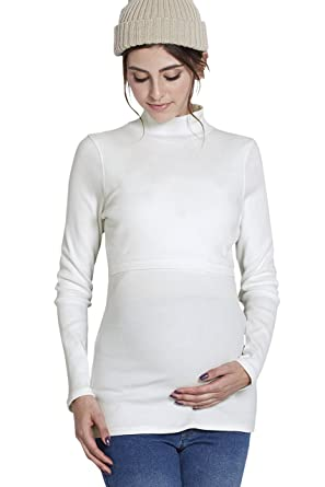 1427bb6318312 Sweet Mommy Maternity and Nursing Cotton Mock Turtleneck Top White, M
