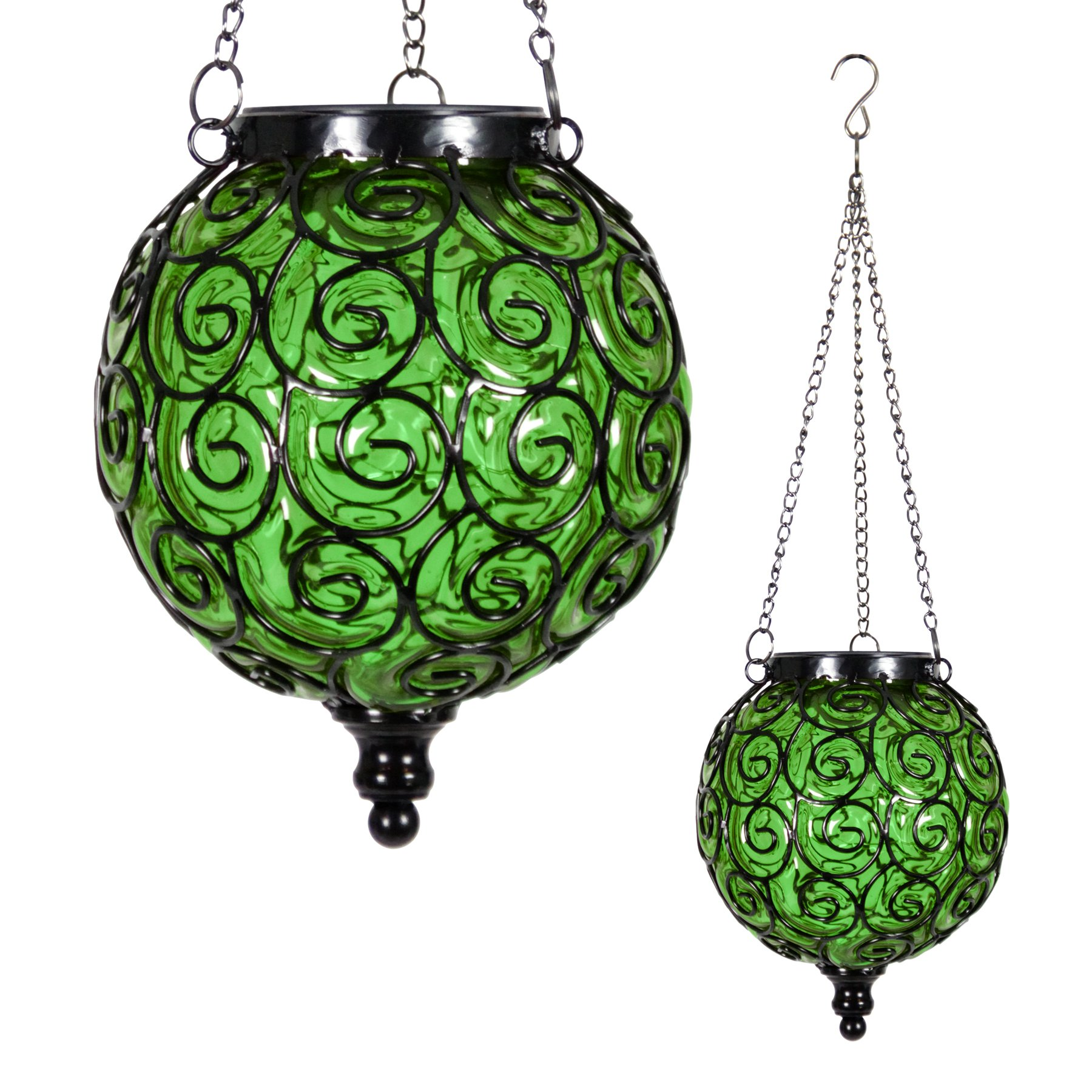 Exhart Round Solar Green Glass Hanging Lantern with 12 LED Firefly String Light, Glass Lantern, Hanging Decoration, Backyard/Outdoor / Garden