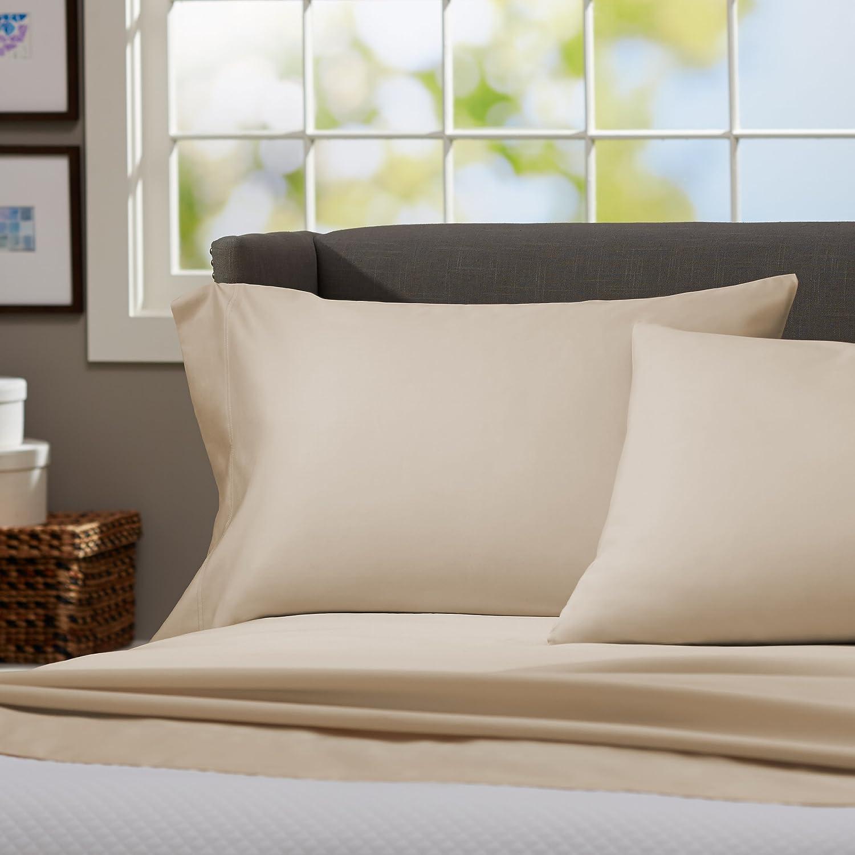 Pinzon 500-Thread-Count Pima Cotton Sateen Bed Sheet Set - Queen, Canvas