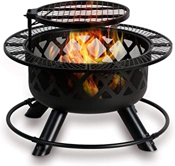 Bali Outdoors Wood Burning Fire Pit Backyard with Cooking Grill