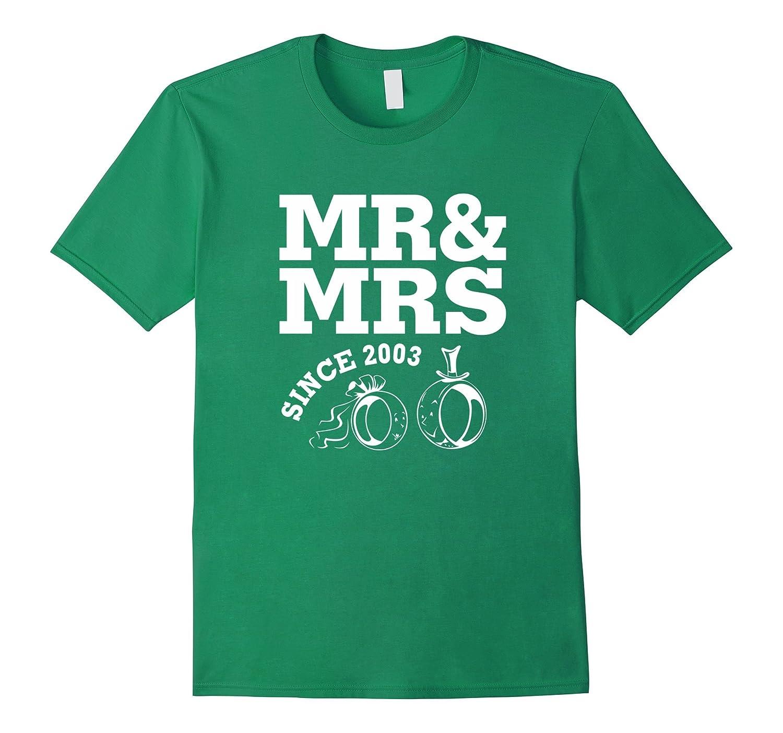 14th Wedding Anniversary Gift - Mr  Mrs Since 2003 T-Shirt-TD