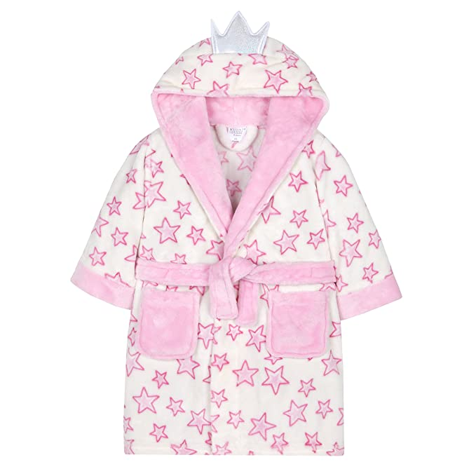 Minikidz Supersoft Fleece Heart Design Hooded Dressing Gown