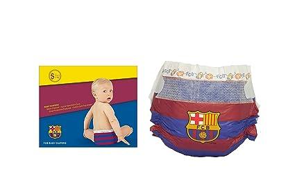 FC BARCELONA PAÑALES DIAPERS NAPPIES, Talla L (9-14kg), 12 unidades