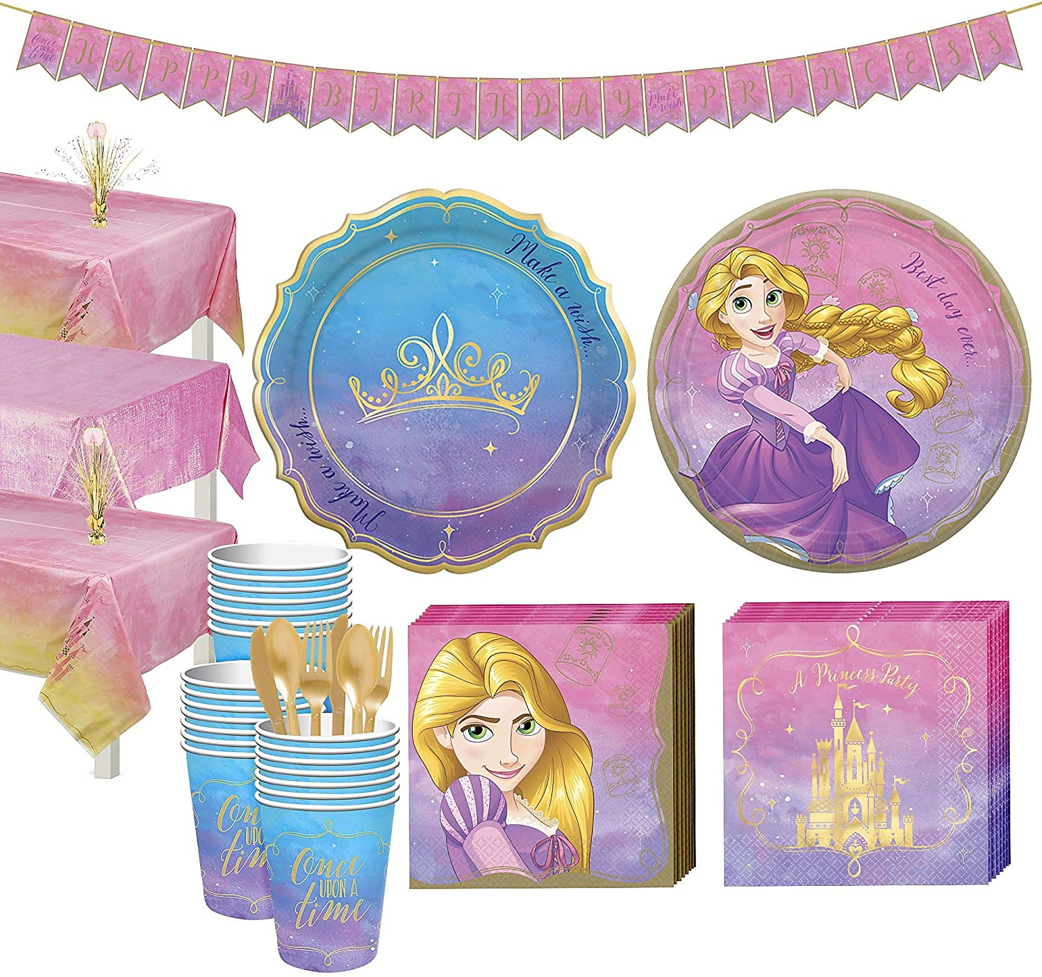 Party City Disney Princess Rapunzel Tableware Supplies for 24 Guests, Includes Cups, Cutlery, Napkins, Plates, and Decor