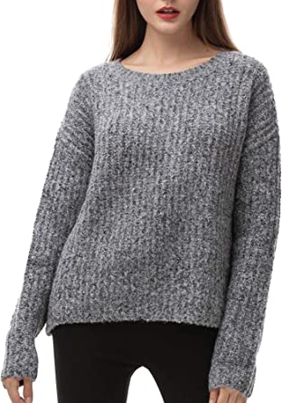 Womens Oversized Knit Sweater Crewneck Loose Long Sleeve Pullover Chunky Winter Sweaters for Women Thick Warm