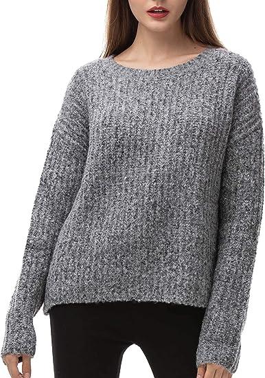 Womens Ladies Casual V-Neck Boxy Jumper Grey Wool Blend Sweater Top XS S M L XL