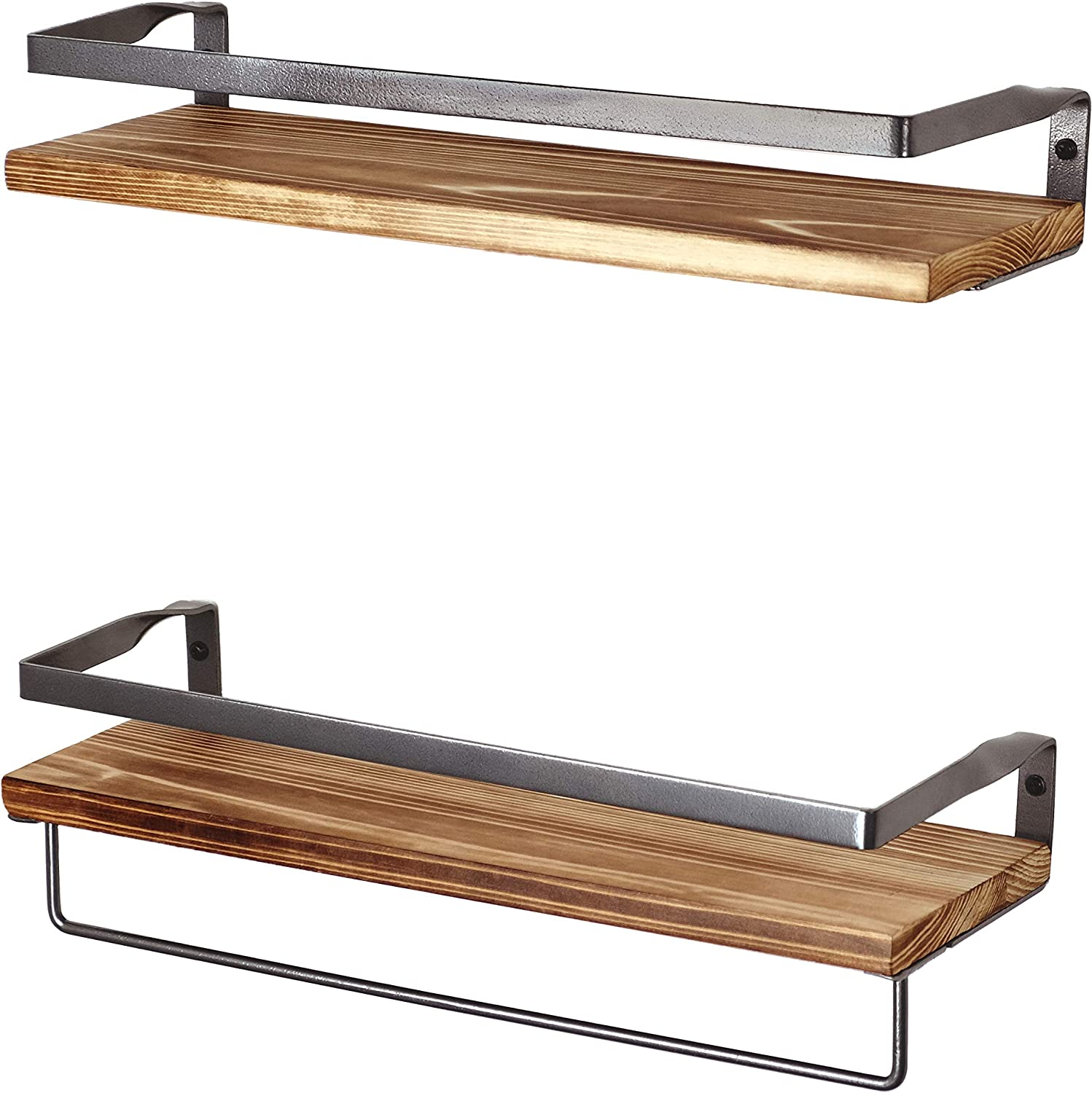 Peter's Goods Rustic Floating Wall Shelves with Rails - Decorative Storage for Kitchen, Bathroom, and Bedroom - Elegant, Modern Shelving - Torched Fir Wood, Black Silver Metal Frame - Set of 2