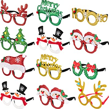 93a635d246a7 Boao 12 Pairs Christmas Glasses Frames 3D Novelty Eyeglasses Christmas  Party Props Glasses for Adults Women