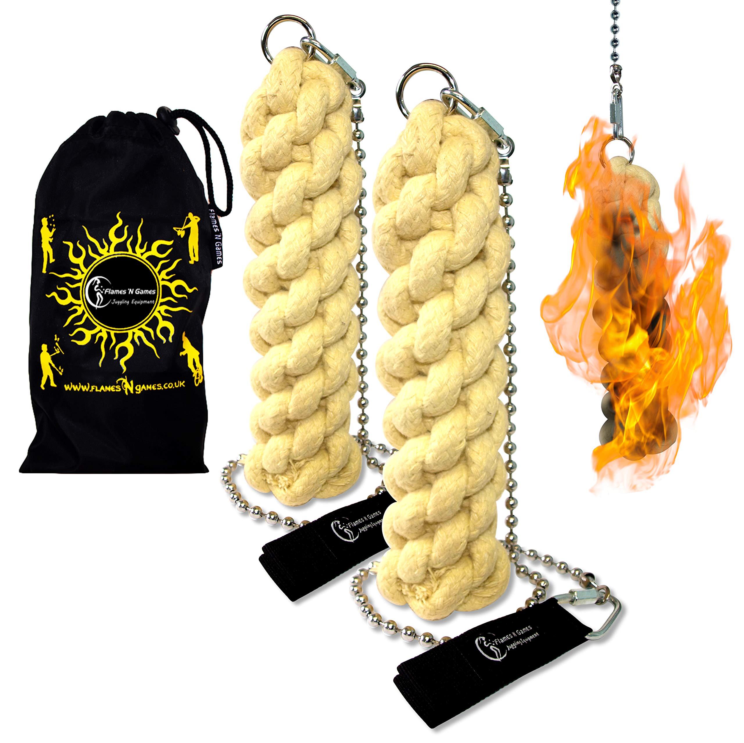 Flames N Games ORION X - Pro Fire Poi set + Flames 'N Games Travel Bag