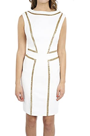 Joseph Ribkoff White Dress with Golden Sequin Pattern Style 171412 (2)