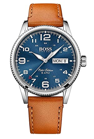 Hugo Boss Pilot Vintage Blue Dial Leather Strap Mens Watch 1513331