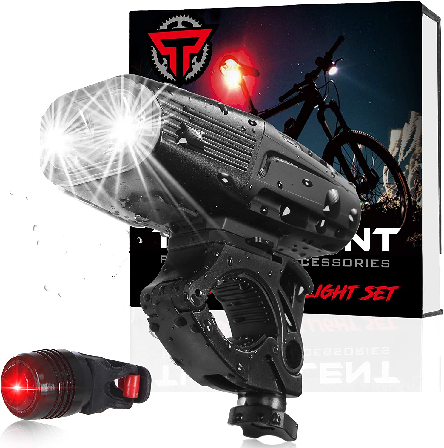 two Front /& Rear 5 led lights set zoom head light torch lamp red bike MTB BMX