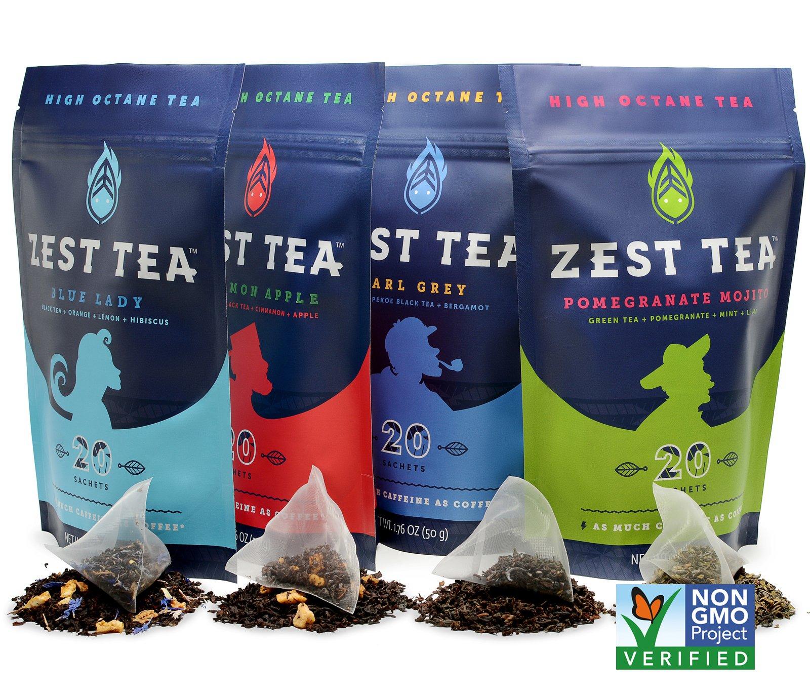 Zest Energy Tea Ultimate Sampler (4-Pack): Premium High Caffeine Blends - Blue Lady (Citrus and Hibiscus), Pomegranate Mojito, Earl Grey, Apple Cinnamon Flavors (200 g) (80 servings) by Zest Tea