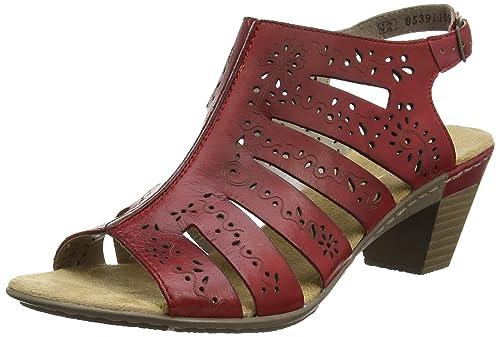 cf10d2181ad3 New Rieker Women s Aileen 66 Sandal Red 41