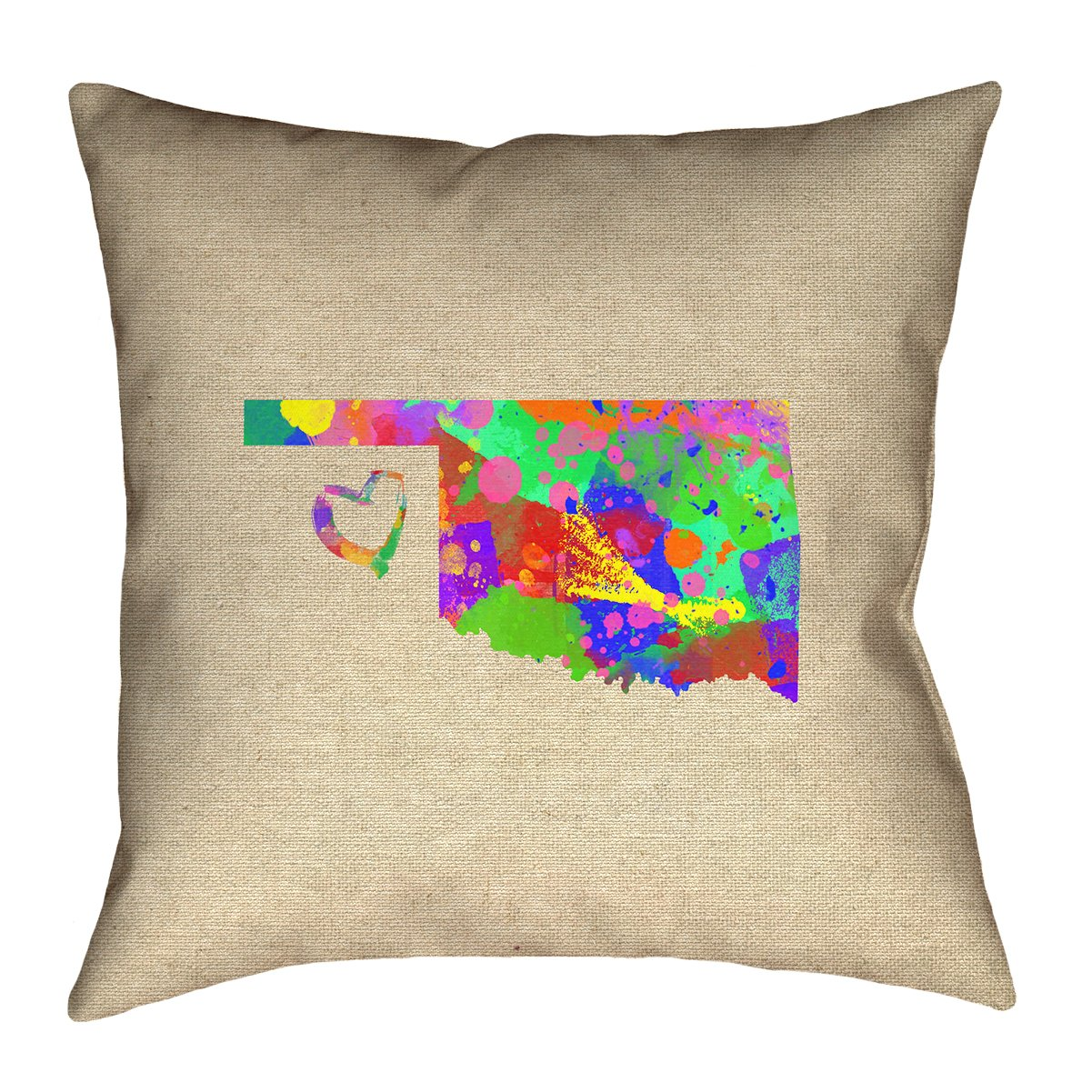 ArtVerse Katelyn Smith 28 x 28 Floor Double Sided Print with Concealed Zipper /& Insert Oklahoma Love Watercolor Pillow