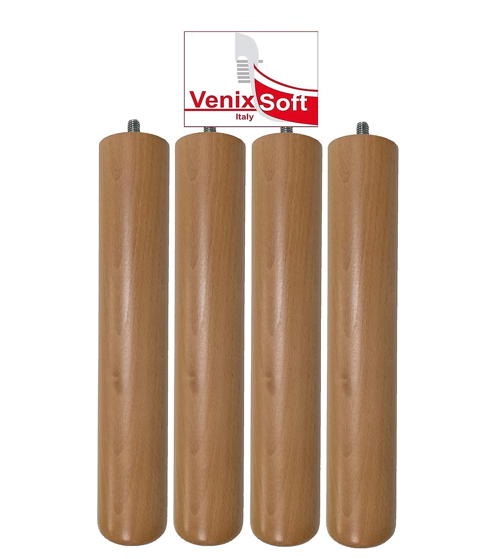 venixsoft Set di 4 Pezzi Piedi in Legno di Faggio H 34 cm per reti a doghe in Legno-Verniciatura a Basso Impatto Ambientale-Prodotti in Italia