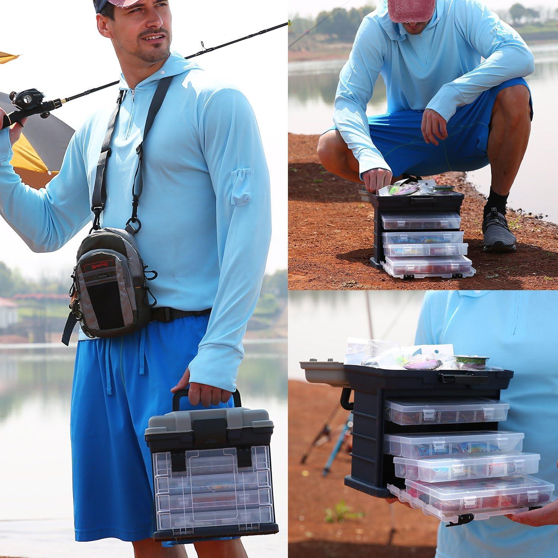 Sougayilang Fishing Tackle Box Portable 4 Layers Fishing Box Sea Boat Fishing Accessory Box Case with Handle Utility Box-Small Size : Sports & Outdoors
