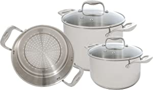 Tuxton Home Concentrix Wellness 5PC Cookware Set; Stainless Steel, PFTE & PFOA Free, Freezer to Oven Safe, Induction Compatible; Covered Casserole, Stockpot and Steamer Insert