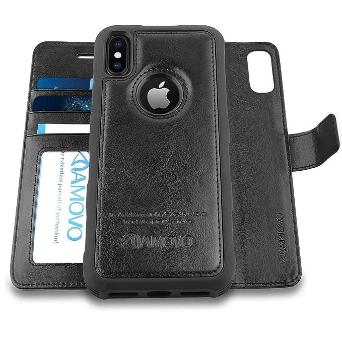 Amovo Funda para iPhone XS/iPhone X (5.8) [2 en 1] iPhone XS Wallet Case [Desmontable Folio] [Piel Vegana] [Correa de muñeca] iPhone X Flip Case con Caja de Regalo: Amazon.es: Electrónica