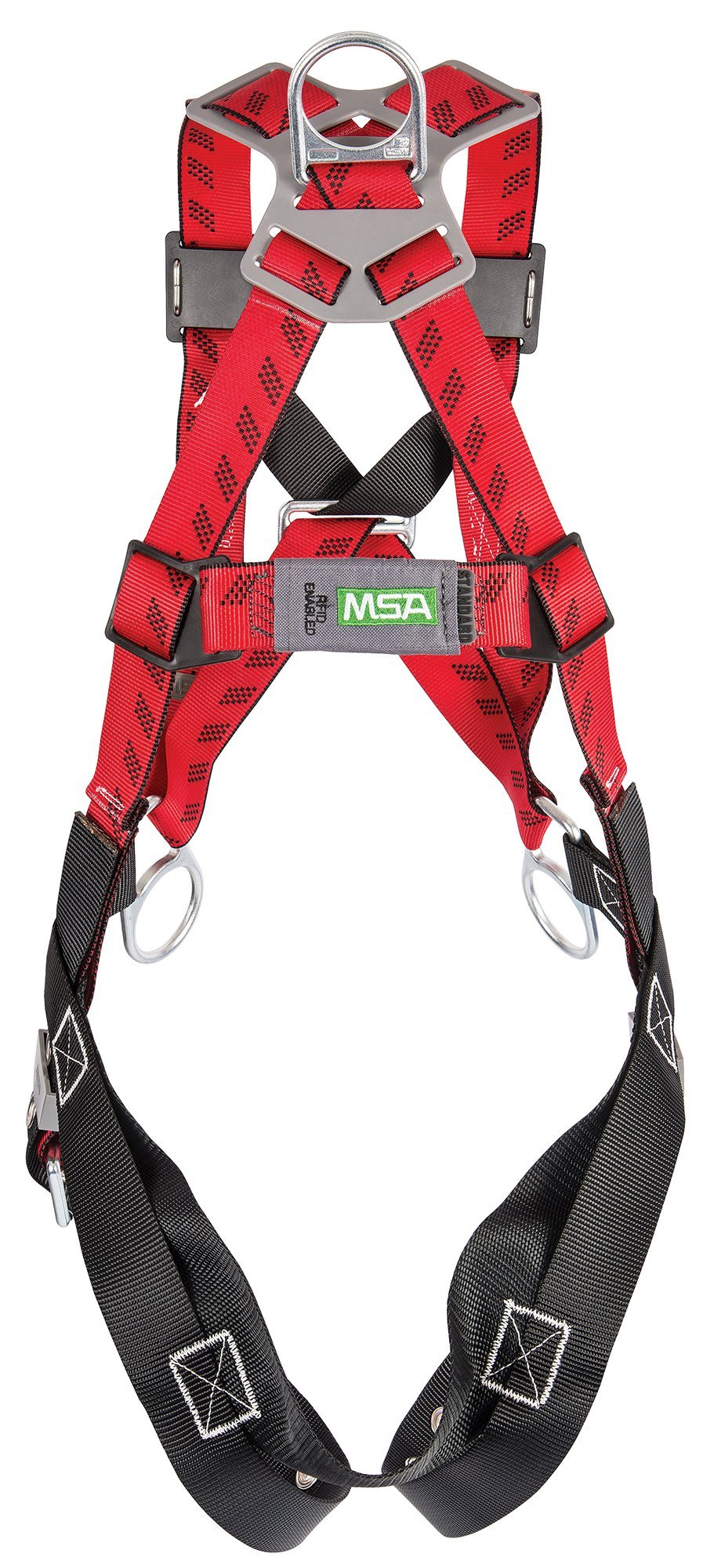 MSA Safety 10041609 TechnaCurv Pullover Style Harnesses, Tongue Buckle Leg Straps, Qwik-Fit Chest Strap, Back, Hip and Chest D-Rings, Shoulder Padding, Standard