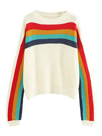 c45560e72416 MAKEMECHIC Women s Plus Size Rainbow Colorblock Striped Knit Sweater Jumper  at Amazon Women s Clothing store