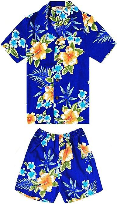 Chico Camisa Hawaiana o Conjunto de cabaña en Azul Hibiscus
