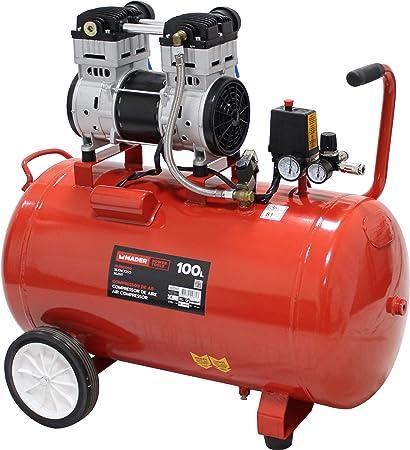 MADER POWER TOOLS - Compresor de aire (sin aceite) 100L 2HP - silencioso - ecologico - economico