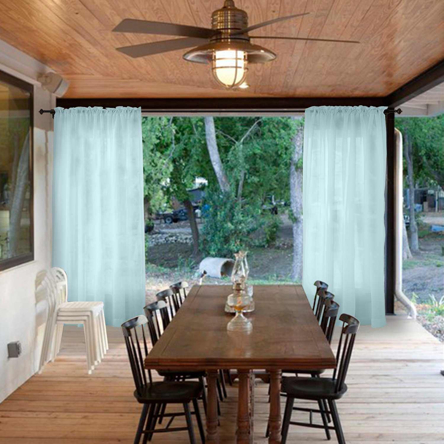Macochico Extra Wide Outdoor Sheer Curtains Home Decoration Windproof Privacy Guard Sky Blue Voile Drapes for Bedroom Living Room Patio Garden Gazebo Backyard 150W x 96L (1 Panel)