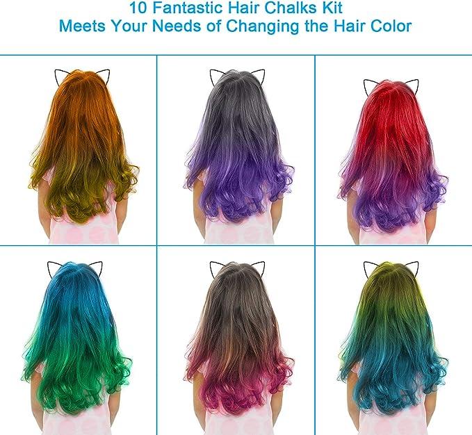 Tiza para el cabello, 10 Plumas de tiza para el cabello no tóxicas coloridas y kit de pintura para la cara, color de cabello temporal Regalos de ...