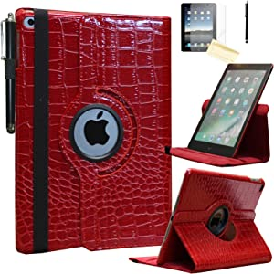 JYtrend Smart Case for iPad Air 1st / Air 2nd Generation (9.7 in) with Pencil Holder, Rotating Stand Magnetic Auto Wake Up/Sleep Cover for iPad Air 1/Air 2 A1474 A1475 A1476 A1566 A1567 (Crocodile)