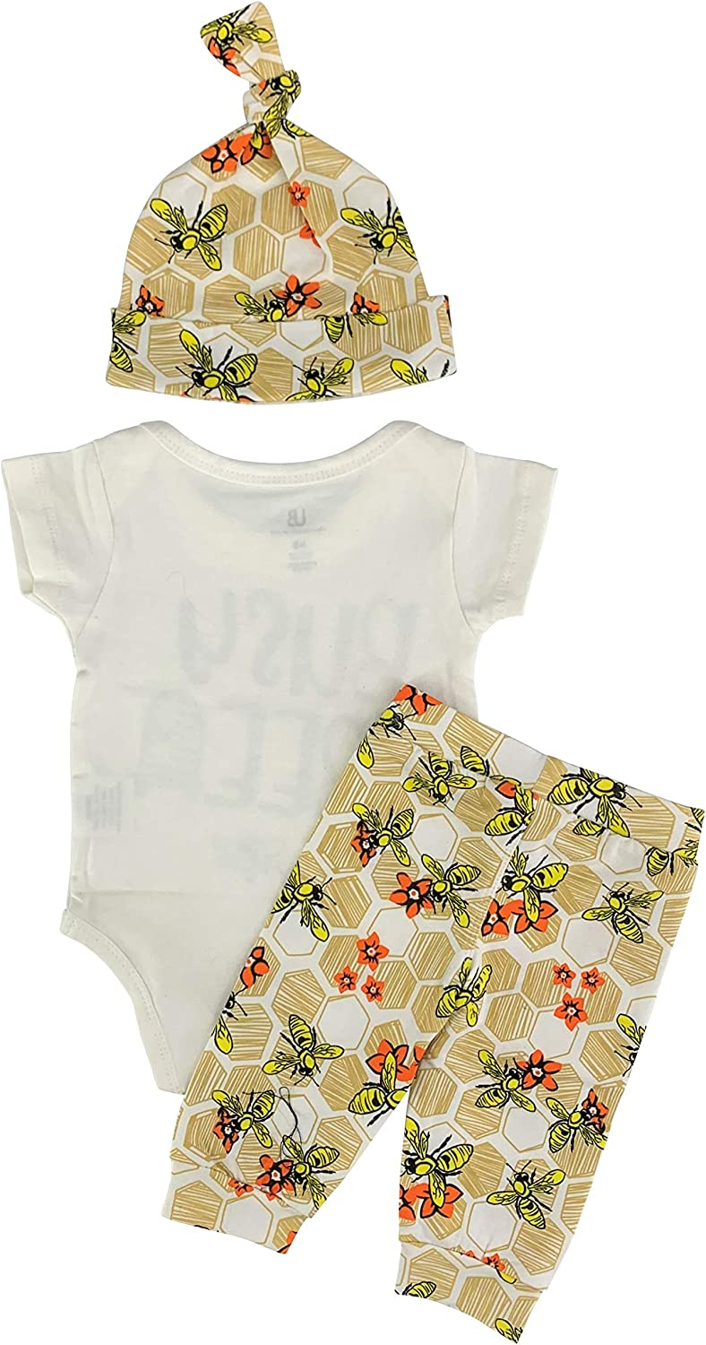 Unique Baby Boys Busy Bee Fall Layette Onesie Cap Pants Outfit