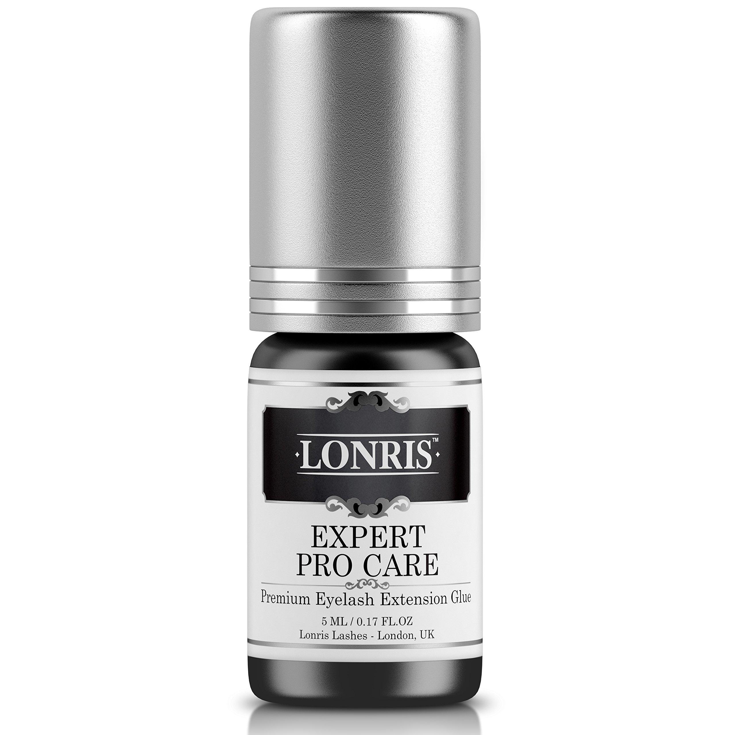 LONRIS Sensitive Low Fume Extension Glue 5 ml/Professional Advanced Individual Semi-Permanent Lash Adhesive Bond Supplies / 2-4 Seconds Dry Time & 5-6 Weeks Bonding - Long Retention/Black