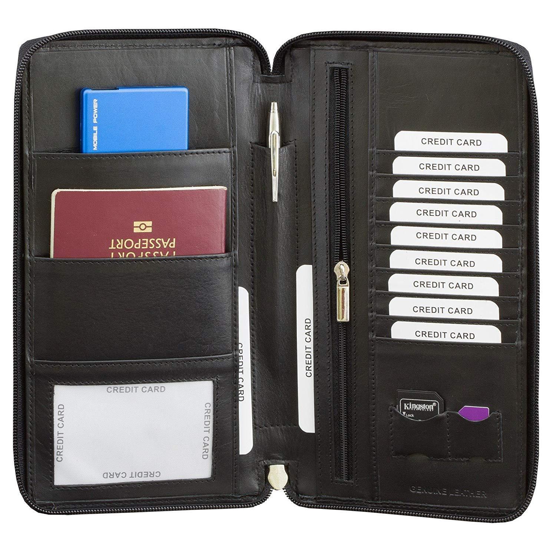 4857fa6c8bc0 SMART RFID BLOCK Genuine Leather TRAVEL ORGANISER PASSPORT WALLET - BLACK /  BROWN – GENUINE PICASSO / HUNTER LEATHER - ZIP AROUND - TUV TESTED & ...