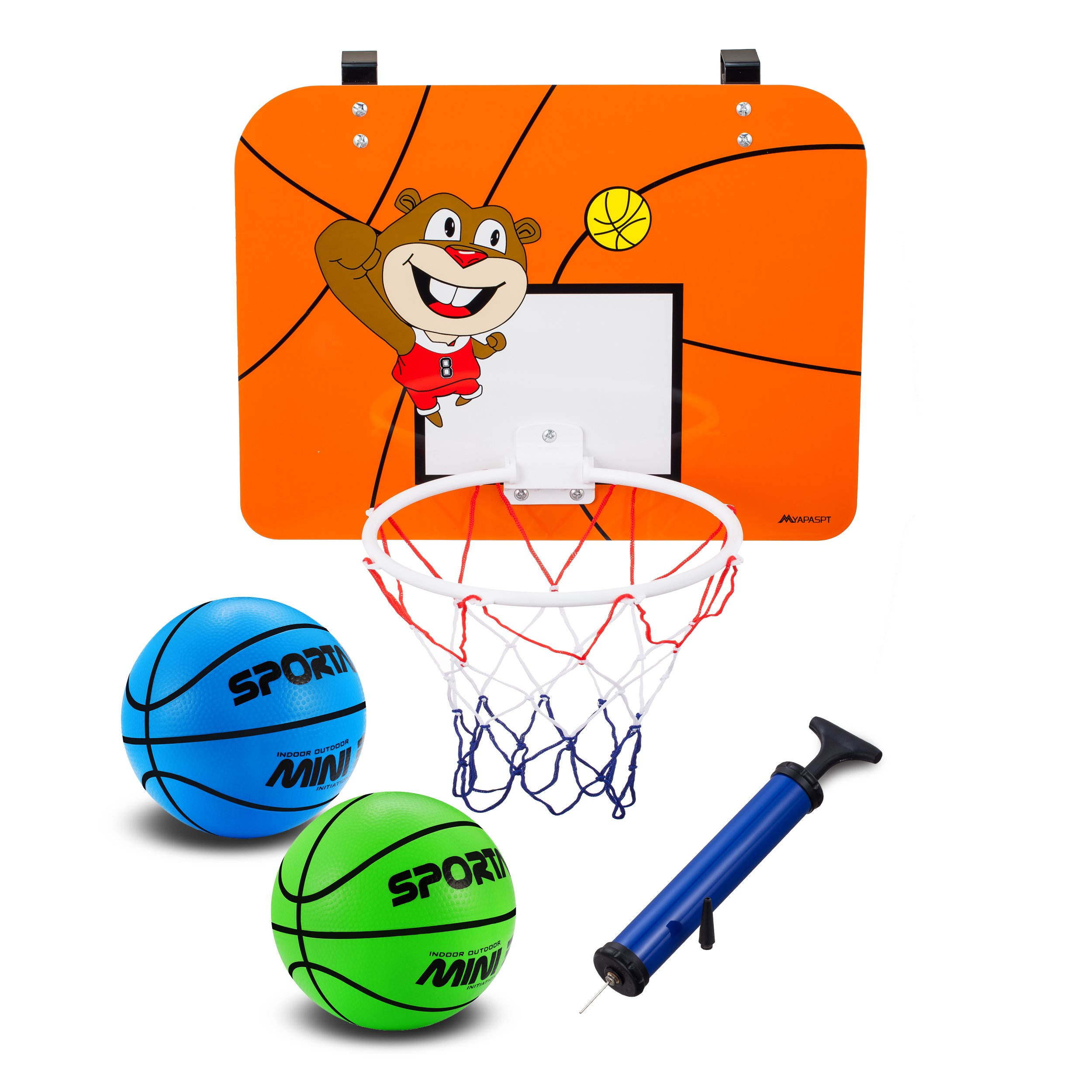 Mini Basketball Hoop Set With 16 x 12 Inch Shatter Resistant Backboard - Cute Bright Colors Kids Ball - Includes 2Pcs 6.5 Inch Basketballs & Pump - Fun Play Basketball System For Children Or Adult