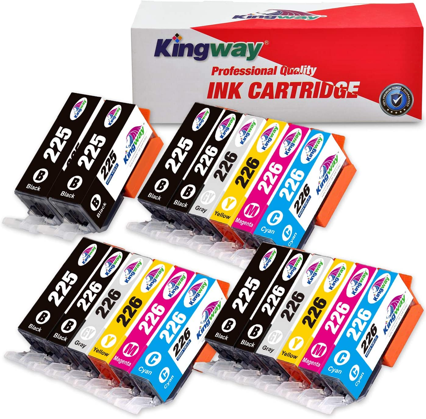 Kingway Compatible Ink Cartridge Replacement PGI-225 CLI-226 PIXMA MG6120 MG8120 MG6220 MG8220 MG8120B IX6520 MG5320 MG5220 MX882 MX892 IP4920 MG5120 MG5210 MG6200 Printer 20 Pack(3 Sets + 2 PGBK)