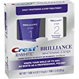 Crest 3D White Brilliance Toothpaste, Teeth Whitening and Deep Cleansing via Daily Two-Step System - 4.0 Oz and 2.3 Oz…