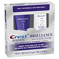 Crest 3D White Brilliance 2 Step Kit, Deep Clean Toothpaste (4oz) + Teeth Whitening...